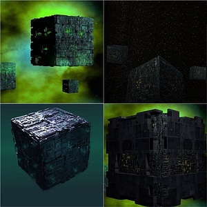 Set of Borg Cubes 3D Model