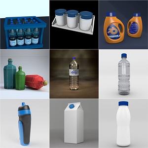 Plastic and Paper Bottles 3D Model