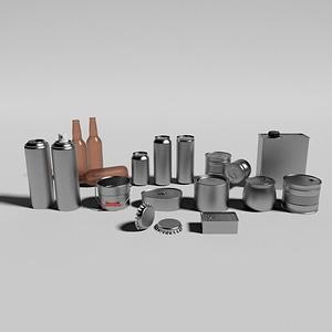 Set of Tin Cans 3D Model