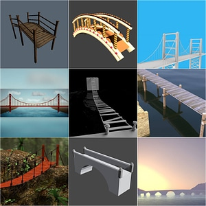 橋のセット3Dモデル
