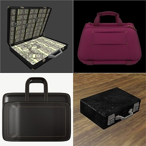 Briefcase, handbag, portfolio and suitcase 3D Model