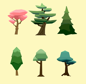 Set of Low Poly Trees 3D Model