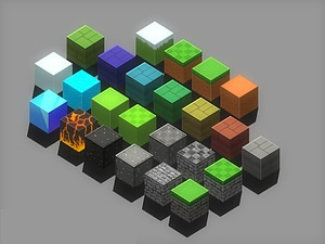 Isometric Block Pack 3D Model