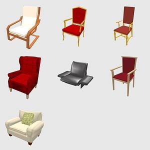 Set of Armchairs 3D Model