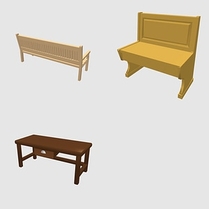 Set of Benches 3D Model