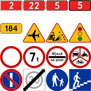 332 Road Signs of Poland vector