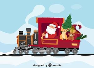 Santa Claus in the train vector