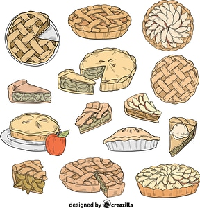 Set of Apple pie vector