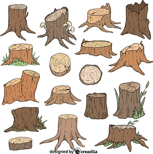Set of Tree stump vector