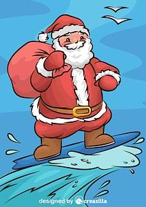 Santa Claus Surfing vector