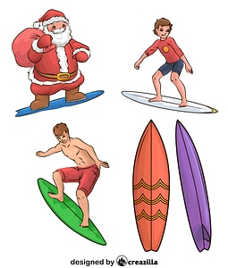Set of Surf Riders vector