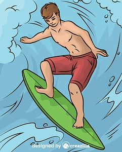 Surfer Catching Wave vector