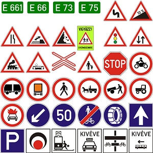 400 Road Signs of Hungary vector