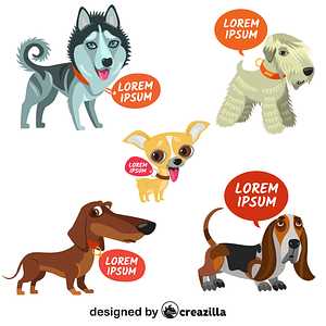 Dogs with tags and speech bubbles vector