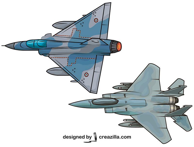 Set of Military Jet Aircrafts vector