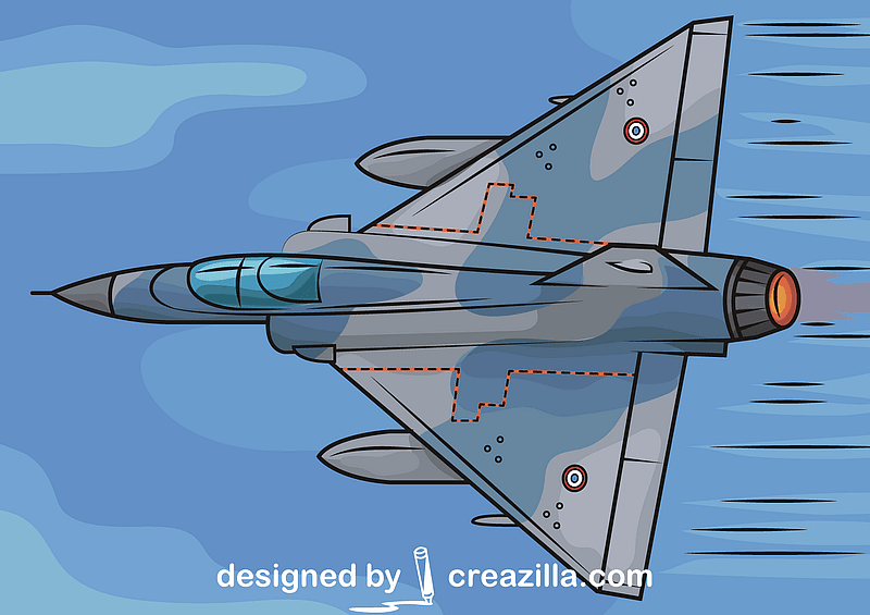 Military Dassault Mirage 2000 Jet Fighter French Airforce vector