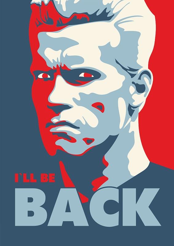 Ik kom terug van Terminator Movie van Arnold Schwarzenegger vector