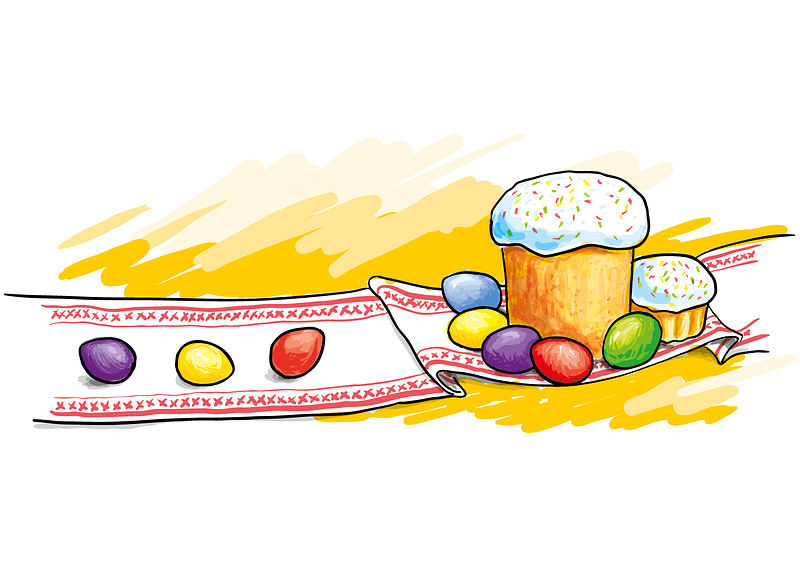 Easter Eggs with Cake vector