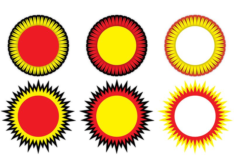 Circular Sun Glass Coasters vector