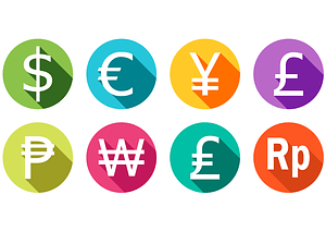 USD, Yen, Euro, Ruble, GBP Currency Stickers vector