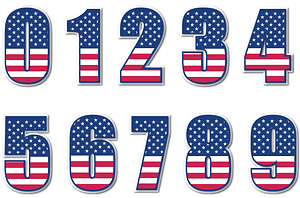 USA Flag Number Stickers vector