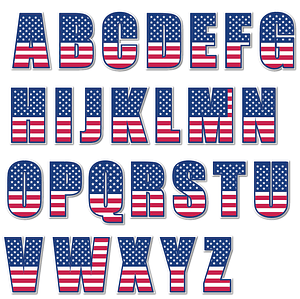 USA Flag Alphabet Letters Stickers vector