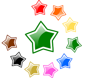 Colorful Stars Stickers vector