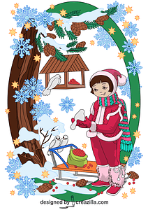 Girl Feeding Birds in Winter Card vector