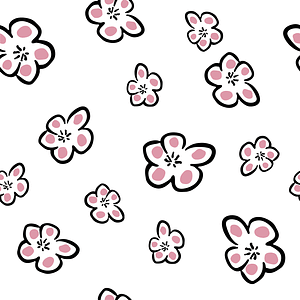 White Background Seamless Pattern with Flowers vector