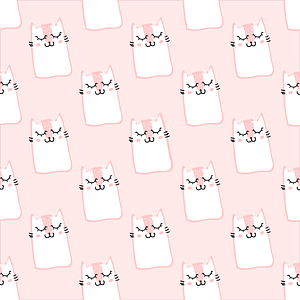 Seemless Pattern with Cute Kittens vector