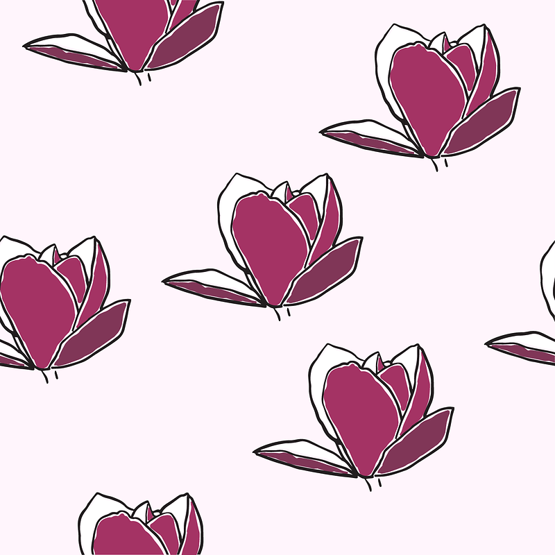 Pink Magnolia Seamless Pattern vector