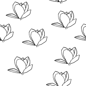 Magnolia Black and White Seamless Pattern vector
