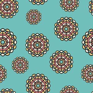Blue Seamless Pattern with Flowers vector