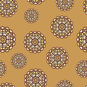 Brown Seamless Pattern with Flowers vector