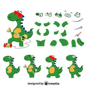 Dinosaur character constructor vector