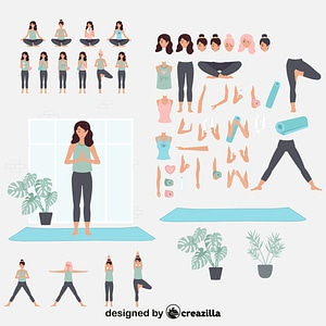 Yoga girl constructor vector