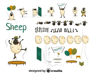 Sheep character constructor vector