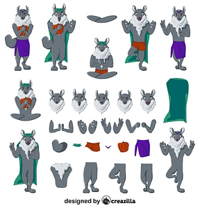 Wolf character constructor vector