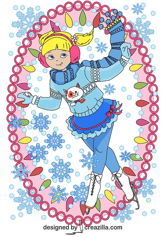 Girl Ice Skater Card vector