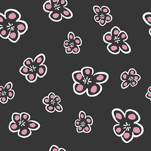 Black Background Seamless Pattern with Flowers vector