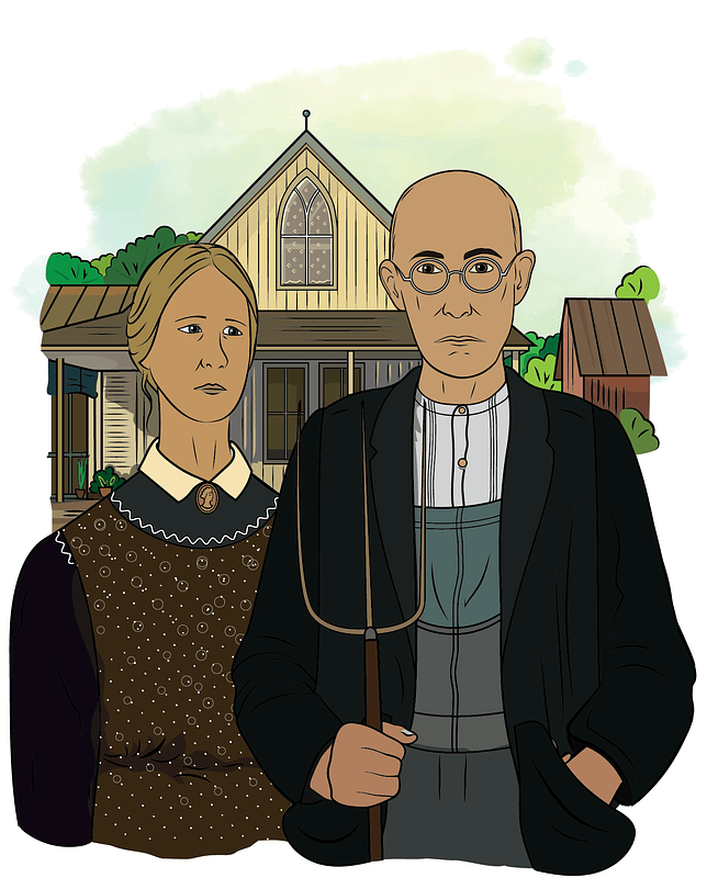 American Gothic by Grant Wood vector