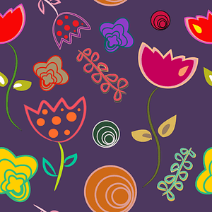 Abstract Tulips Seamless Pattern vector