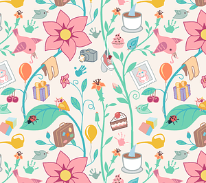 Baby, Flower, Insect and Bird Seamless Pattern vector