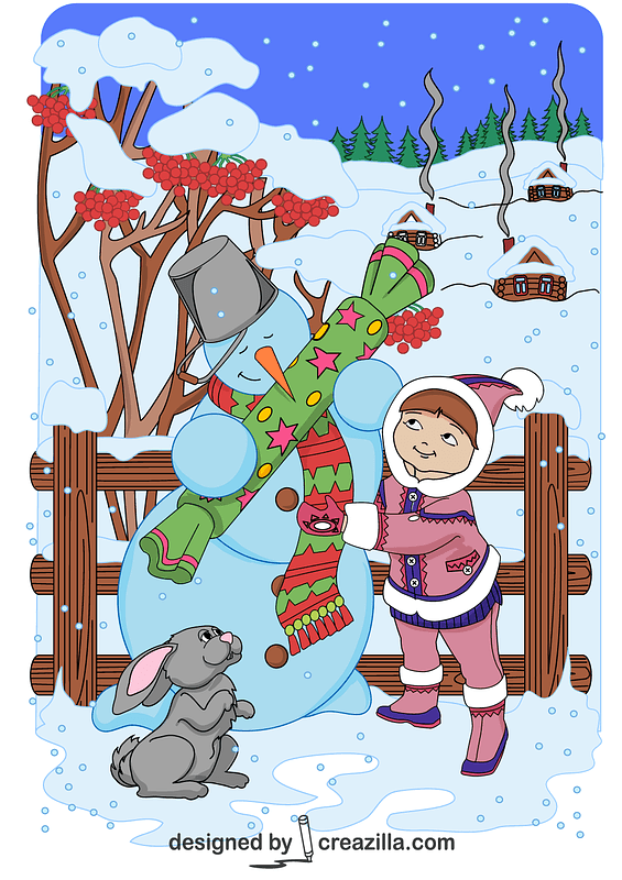 Girl is Giving a Big Candy to a Snowman Card vector