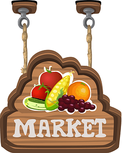 Vegetables of the Market Label vector