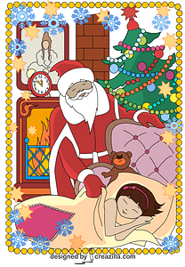Santa Claus Comes Tonight Card vector
