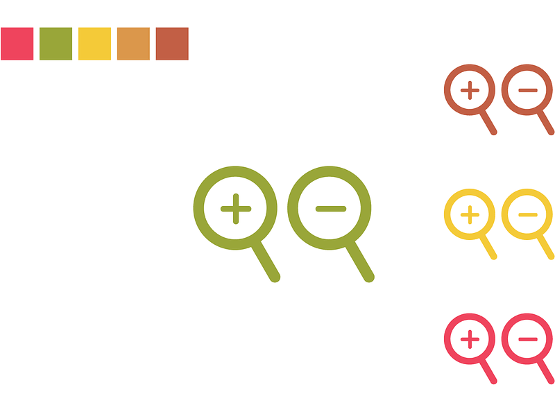 Zoom Icon in Different Colors vector