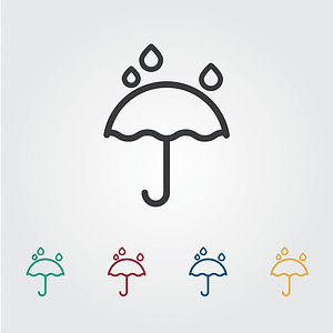 Umbrella and Rain Icons vector