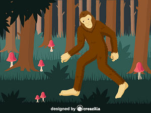 Bigfoot in the forest vector