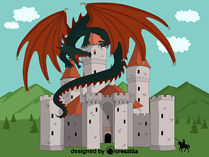 Dragon and castle vector